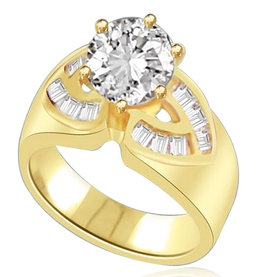 Resplendent 14k Solid Yellow Gold ring With 2.0 cts. round Diamond Essence centerpiece and channel set Princess Cut Diamond Essence Stones on each side, 2.6 Cts. T.W.