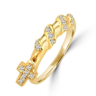 Appealing and Unusual Band with a dangling Cross and softly glowing Diamond Essence pieces, 0.25 Cts.t.w. in 14K Solid Gold.