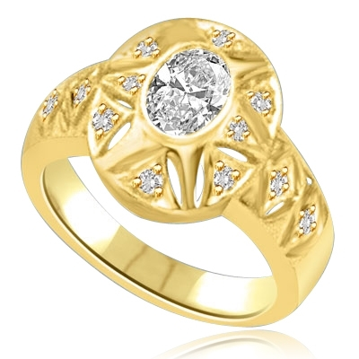 Victorian style 14K Solid Gold ring with 1.0 ct Oval Diamond Essence centerpiece reflected in a properly dazzling gold oval frame. 1.5 cts.t.w.