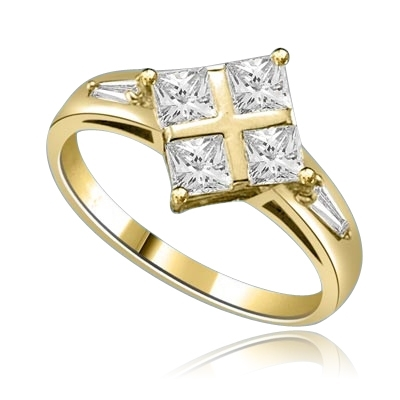 4 Princess Cut Masterpieces Ring in yellow gold
