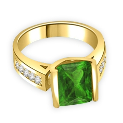 Sarabande - Impressive Ring with 4 Ct. Emerald Cut Emerald Essence Center and featuring Channel Set accents on the band. 5 Cts. T.W. in 14K Solid Yellow Gold.
