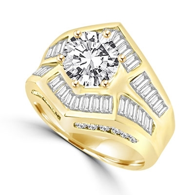 Classic cocktail ring, with 2 carat center stone in six pongs setting. Channel set baguettes set artistically, and round melee on band makes it perfect party wear. 4.5 ct.t.w. in 14k Solid Yellow Gold.