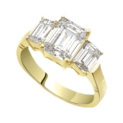 2 ct emerald-cut stone with solid gold