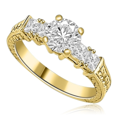 Round & princess cut stones in 14K Solid Yellow Gold ring