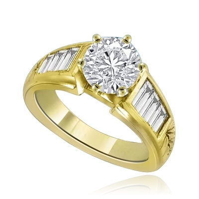 2 cts Precocious-Glamourous Solid Gold Ring