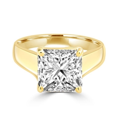 14K Solid Yellow Gold ring of Diamond Essence 3.5 carat princess-cut stone. This solitaire ring makes you feel like a millionaire.