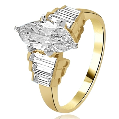 2ct. Marquise-cut Diamond Solid Gold ring