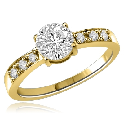 A thoroughbred design that stands the test of time. 0.75 Ct. Round Brilliant Diamond Essence Stone in center and Melee accents galloping handsomely down the band. 1.0 Ct.T.W. set in 14k Solid Yellow Gold.