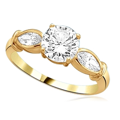 round diamond flanked by twin marquise cut stones solid gold ring