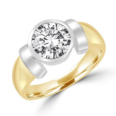 Solitaire Ring with 2ct. Round Brilliant  Diamond Essence, bezel set in 14k Solid Yellow Gold.