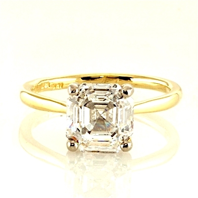 14k yellow gold ring with asscher cut  stone