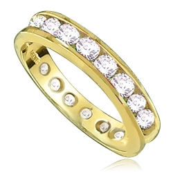 Eternity Band--Flawless round-brilliant Diamond Essence masterpieces completely encircle this channel set wedding band. 2.0 Cts T.W. set in 14K Solid Yellow Gold.