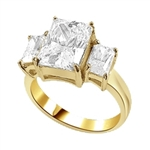 radiant emerald-cut diamond ring in gold