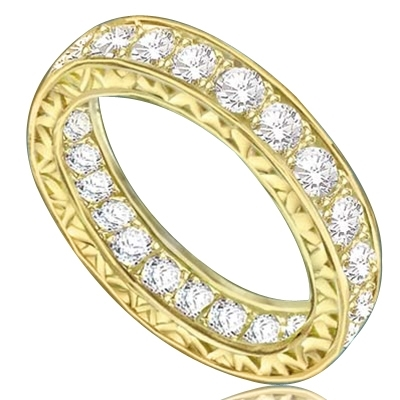 Eternity band with filigreed sides in Yellow gold