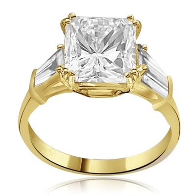 Prong Set Engagement Ring with Artificial Princess Cut Brilliant Diamond and Baguettes by Diamond Essence set in 14K Solid Yellow Gold