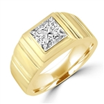 14K Solid Yellow Gold man's ring with 1.5 cts. t.w. radiant square center stone with florentine finish on band.