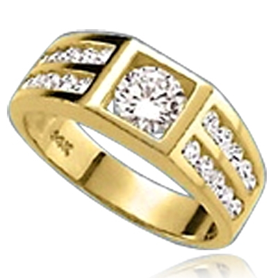 14K Solid Yellow Gold man's ring with .75 ct round Diamond Essence center stone with four rows of channel set round Diamond Essence accents, 2.0 cts.t.w.