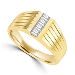 14K Solid Yellow Gold man's ring with these square cut Diamond Joy center stones, 0.40 cts.t.w.