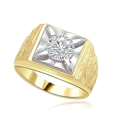Play-Man's heavy ring with a 2.0ct in solid gold