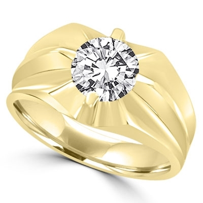 14K Gold man's ring with a 2.0 cts.t.w. round cut Diamond Essence masterpiece. Enhances his appealing nonchalant attitude.