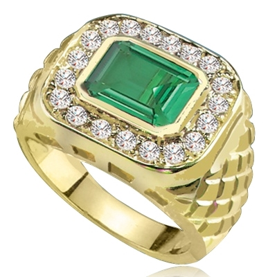 Imposing 14K Solid Yellow Gold man's ring with a 4.0 ct. bezel-set Emerald cut Emerald center stone attended by a melee of Round cut mini masterpieces. 4.5 cts. t.w. For prime movers.