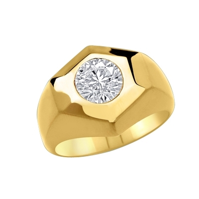 Classically Cut Man's Ring with an inviting 2.25Ct. Round Brilliant Cut Diamond Essence Masterpiece standing alone in equally awe inspiring setting. A great solo performance.In 14K Solid Yellow Gold.