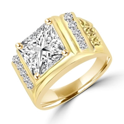 14K Solid Yellow Gold man's ring with a massive 6.0 ct. Radiant Square cut Diamond Joy Masterpiece surrounded by a loyal group of flawless, diamond-bright Round cut team players. 6.5 cts. t.w. Projects the perfect aura for your dynamic man.