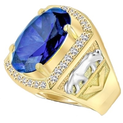 For the king of the jungle, this authoritative men's ring has a deep-blue oval Diamond Essence topaz, 5.45 cts., in the center, flanked by Diamond Essence melee in 14K Solid Yellow Gold, with tigers imprinted in White Gold on either side. 8.45 cts. t.w.