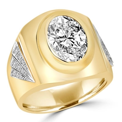 Man's classy wide bodied ring, two-tone 14K Solid Yellow Gold, with oval cut center stone, 6.15 cts.t.w..