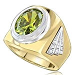Man's classy wide bodied Ring, two-tone, with Oval cut center stone set in 14K Solid Yellow Gold, 6.15 Ctw.T.W.