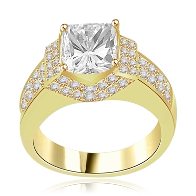 Scintillation-Dazzling ring with a dramatic prong-set 2.5 ct. in 14K Solid Yellow Gold