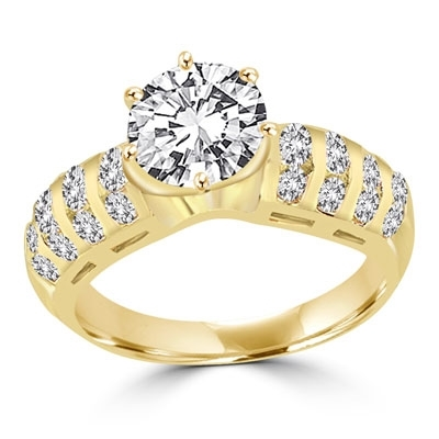 Prong Set Designer Ring with Artificial Round Brilliant Diamond and Round Melee by Diamond Essence set in 14K Solid Yellow Gold