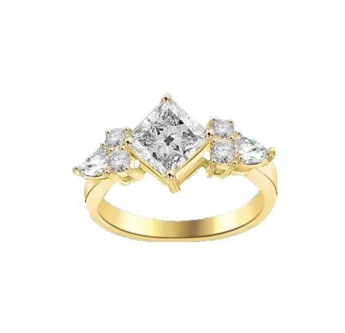 1.25ct princess cut diamond stone in yellow gold