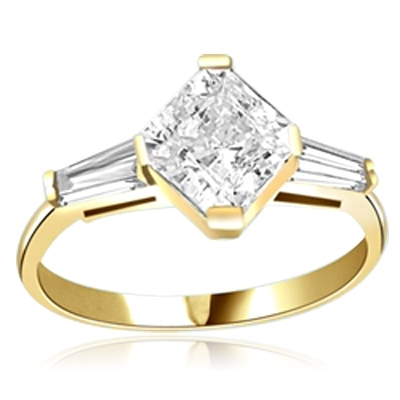 1.75 cts Square cut Diamond ring in 14K Solid Yellow Gold