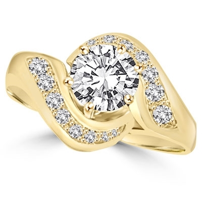 Ring – channel set round diamond in swirl design