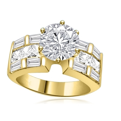 Princess cut gems,baguettes in solid gold ring