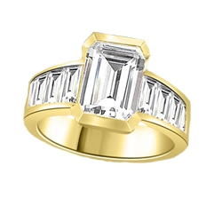 Escape with this Wide Band Ring with Channel Set Emerald Essence, 2.5 cts., separated by straight Diamond Bright Baguettes set vertically for a totally magnificent effect. 3.5 cts. T.W. set in 14K Solid Yellow Gold.