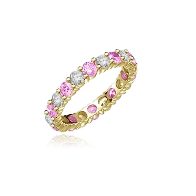 gold eternity band- pink and round diamond essence