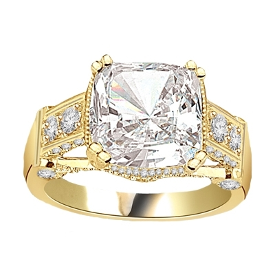 four-carat solid yellow gold cushion-cut stone