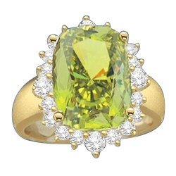 Ring with a oval cut 8.0 cts. Diamond Essence Peridot at the center, surrounded by round Diamond Essence stones, 9.0 cts.T.W. set in 14K Solid Yellow Gold.