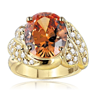 Diamond Essence Ring with Oval cut Champagne Stone and Melee, 7.50 cts.t.w. - GRD6081CH