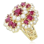Ring – floral design ruby round stone