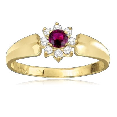 Little ruby flower ring has a round 0.13 Diamond Essence ruby in the center, circled by 8 flawless white Diamond Essence stones. 0.33 ct.t.w.