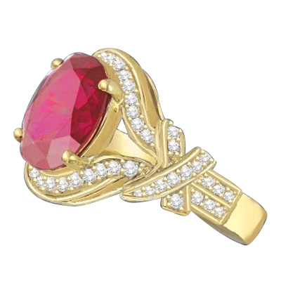 All eyes oval-cut 4.0 cts. Diamond Essence ruby at the center of this 14k Solid Yellow Gold ladies ring, encircled by Diamond Essence melee that culminates in a fancy knotted shank. Spicy! 4.10 cts. t.w.
