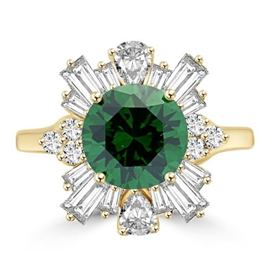 ring with emerald diamond and petal baguettes and teardrop masterpieces