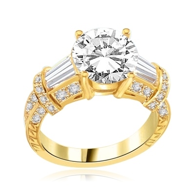 3 ct. classic 14K Solid Yellow Gold ring with a stunning Diamond Essence round-cut center stone