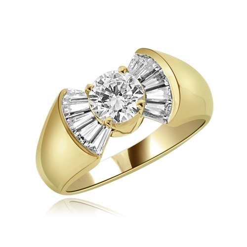 0.75ct Flaunt off round sits ring in yellow gold