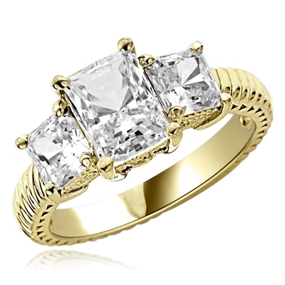 2.5cts. Elegantly styled 3 stone princess ring in 14K Solid Gold