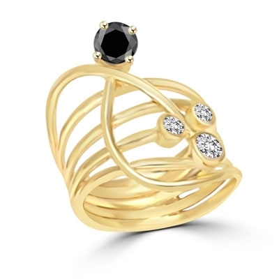 Diamond essence Designer Ring with Bezel set Onyx and Round Brilliant stones, 1.0 cts. T.W. set in 14K Solid Yellow Gold.