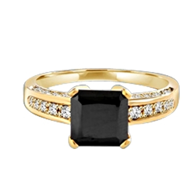 Diamond Essence designer ring with 3.0 ct Princess Cut Onyx Essence center surrounded by Round stones, 3.5 cts. T.W. set in 14K Solid Yellow Gold.
